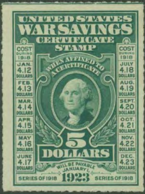 War savings stamps of the United States - A 5-dollar War Savings Certificate Stamp, first released in late 1917.