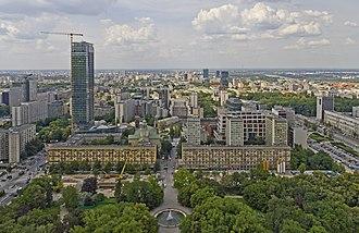 Świętokrzyska Street, Warsaw - Świętokrzyska Street, viewed from Palace of Culture and Science