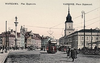 Castle Square, Warsaw - Castle Square in 1910