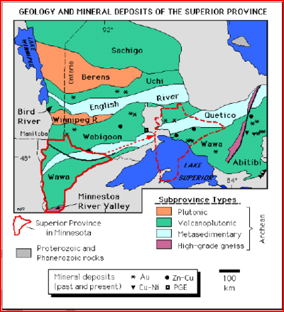 This map shows the Wawa, Quetico and Wabigoon subprovinces of the Superior province. They lie in a southwesterly-northeasterly band from essentially the North Dakota–Minnesota border up into Ontario