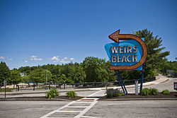 The Weirs Beach sign, located at the beginning of Lakeshore Ave.