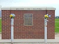 Welcome to Palmyra sign, Palmyra, Utah, Jun 16.jpg