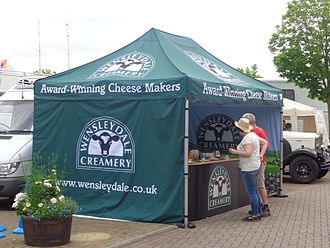 Wensleydale cheese - A Wensleydale Creamery stall at a 2014 Test match