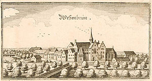 Wessobrunn Abbey - Wessobrunn Abbey 1640 (anonymous print)