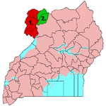 West Nile sub-region 1960s - 1970s 1. + 2. - original West Nile District until 1950s 1. - West Nile district 1960s - 1970s 2. - former East Madi District (later Adjumani District) since 1970s