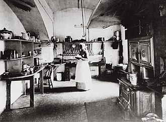 White House Executive Chef - Dolly Johnson, personal cook to President Benjamin Harrison, in the small White House kitchen in 1890