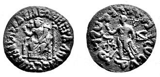 Demeter - Azes coin in India, with Demeter and Hermes, 1st century BC