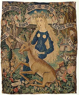Odenwald - Wild Woman (Wildweibchen) with an unicorn (Straßburg around 1500)