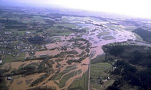 Willamette Valley Flood of 1996 - An aerial view of the Willamette River's flood