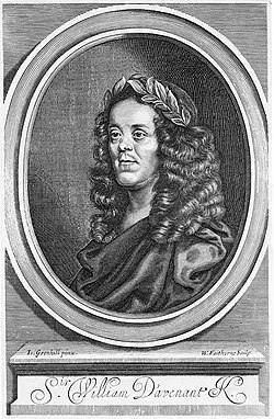 Title page engraving of Davenant from his collected works, after a portrait by John Greenhill