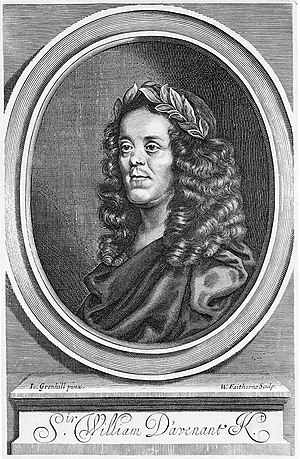 William Davenant - Title page engraving of Davenant from his collected works, after a portrait by John Greenhill