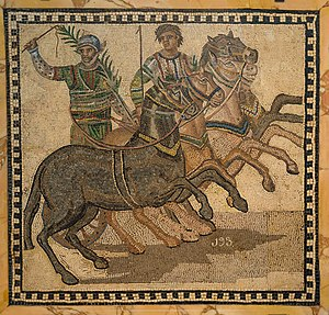 Mosaic showing victorious charioteer with the victor's palm