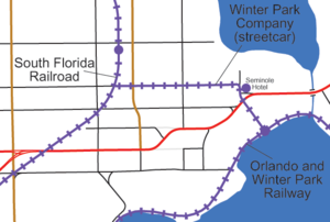 Winter Park Company - A map of the streetcar line run by the Winter Park Company