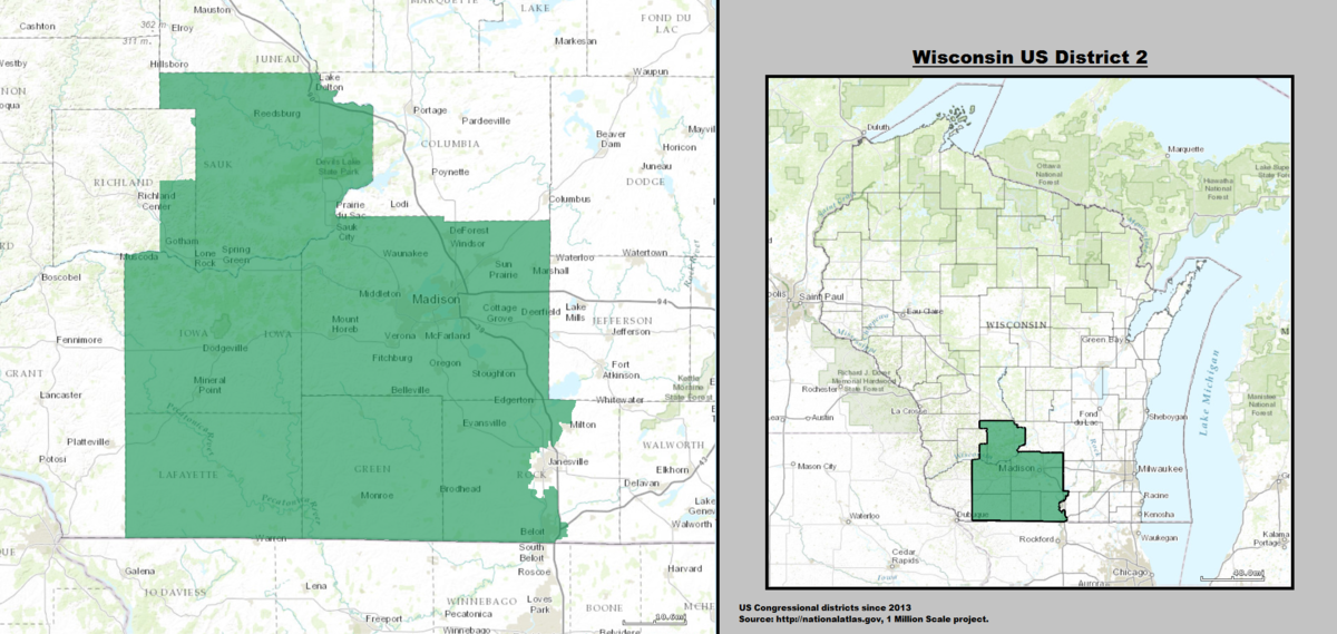 Wisconsins Nd Congressional District Wikipedia - Boundary map for wisconsin 2nd district us house of representatives
