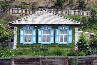 Listvyanka, Irkutsky District, Irkutsk Oblast - Image: Wooden house in listvyanka