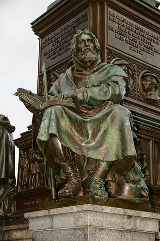Waldensians - Statue of Peter Waldo at the Luther Memorial at Worms, Germany