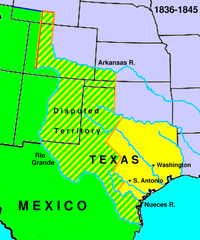 The Republic of Texas. The present-day outlines of the U.S. states are superimposed on the boundaries of 1836–1845.