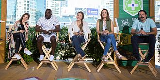 "Wynonna Earp (TV series) - Cast at ""Camp Conival"" during 2016 San Diego Comic-Con. From left: Melanie Scrofano, Shamier Anderson, Dominique Provost-Chalkley, Katherine Barrell and Tim Rozon."