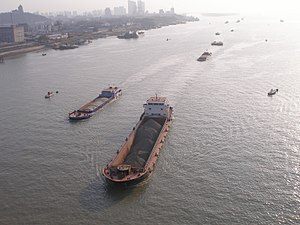 Ships on the Yangtze River in Nanjing