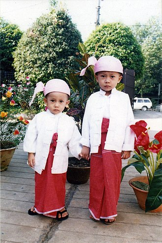 Mon people - Mon boys in traditional Mon costume