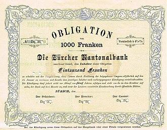 Zurich Cantonal Bank -  Bond of the Zürcher Kantonalbank, issued 1879
