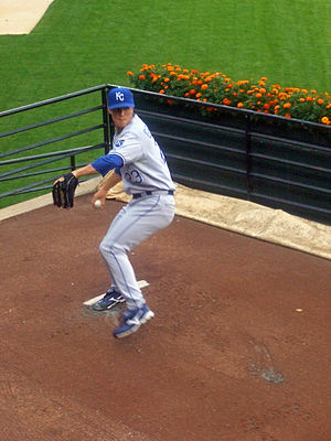 Photo of Zack Greike warming up in the bullpen...