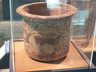 Azuara - Decorated ancient Iberian earthenware showing deers, one of them attacked by a wolf. Cueva del Cabuchico, Azuara. 1st century BC