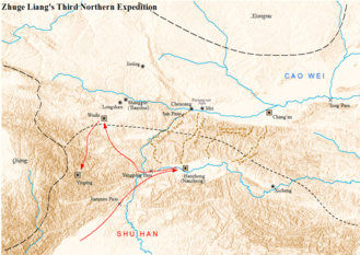 Zhuge Liang's Northern Expeditions - Map showing the Battle of Jianwei