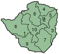 Mapa das províncias do Zimbábue, numeradas.