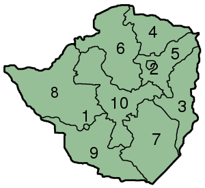 Provinces of Zimbabwe - Image: Zimbabwe Provinces numbered 300px