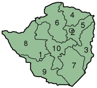 Provinces of Zimbabwe - Image: Zimbabwe Provinces numbered 300px