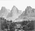 Zion National Park. The Three Patriarchs on the West side of Zion Canyon. - NARA - 517738.tif
