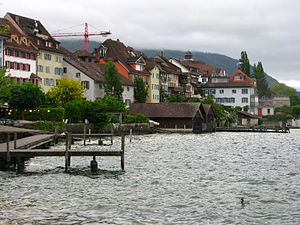 Zug - Unterstadt (lower town) as seen from Lake Zug harbour