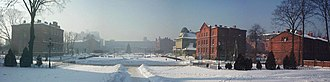 Mill town - Zyrardow - winter panorama of main square
