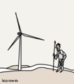 """Don Quixote and a Windmill"", a cartoon of the modern days, by Luis Ricardo.png"