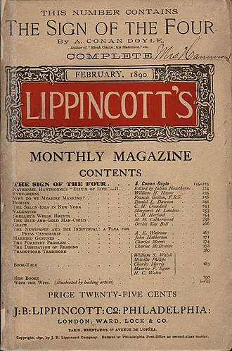 The Sign of the Four - One of the coversheets to the original serial publication of the novel in Lippincott's Monthly Magazine