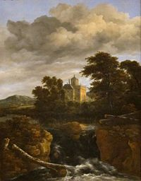 'Landscape with a Waterfall and Castle' by Jacob van Ruisdael, Dayton.JPG