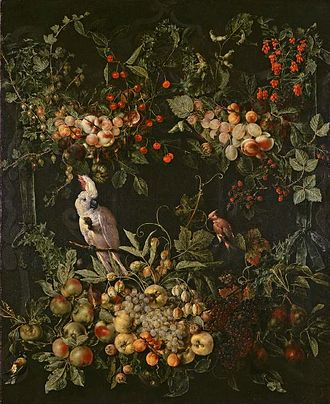 'the other' Jan van Kessel - Swags of fruit and flowers surrounding a cartouche with a sulphur-crested cockatoo