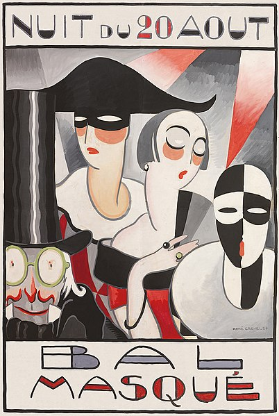 René Crevel. Affiche bal masqué: Art Deco style poster showing attendees at a masked ball.