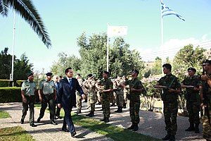 Hellenic Force in Cyprus - Former Minister of Foreign Affairs of Greece Dimitrios Droutsas, visiting the camp of ELDYK in 2010.