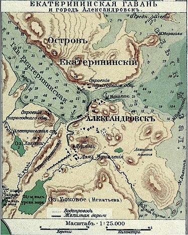 Екатерининская гавань и город Александровск в настольном атласе А. Ф. Маркса, 1903 год