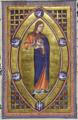 Женщина в красных и синих одеждах. Миниатюра из Абердинского бестиария.png