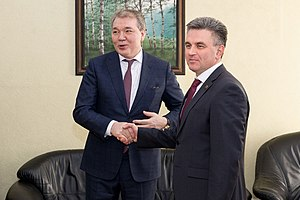 Leonid Kalashnikov - Kalashnikov (left) meeting with President Vadim Krasnoselsky (right).