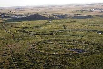 Sintashta culture - Image: Панорама окрестностей Укрепленного поселения Аркаим