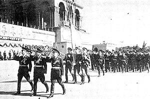Azerbaijan Soviet Socialist Republic - A parade on Lenin Square in Baku in honor of the 50th anniversary of the founding of Soviet Azerbaijan, October 1970.