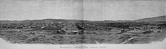 Ulaanbaatar - Engraving of N.A.Charushin's panorama photo of the old center of Urga from trip (1888) with Potanin