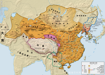 本图为完整呈现唐朝各时期的领土变迁
