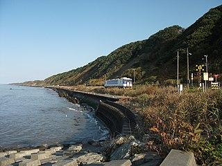 railway line in Hokkaido, Japan