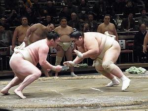 Mawashi - Sekitori in white cotton training mawashi