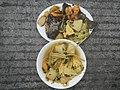 0099Nilagang repolyo, petsay Tagalog, kamote, patatas, kamatis at Pritong Dalag (Bulig) sa tanglad 02.jpg